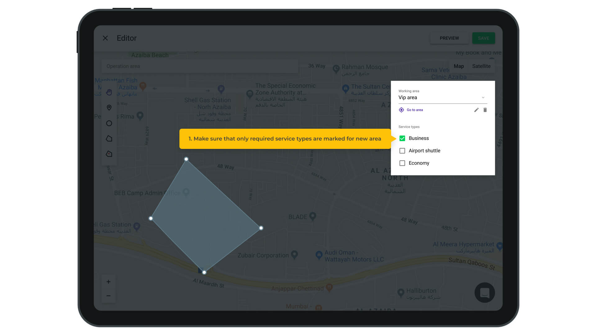 taxi software zones feature